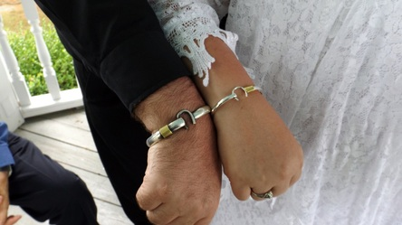 NJ Wedding Officiant Andrea Purtell Officiating Wedding with Island Hook Bracelets